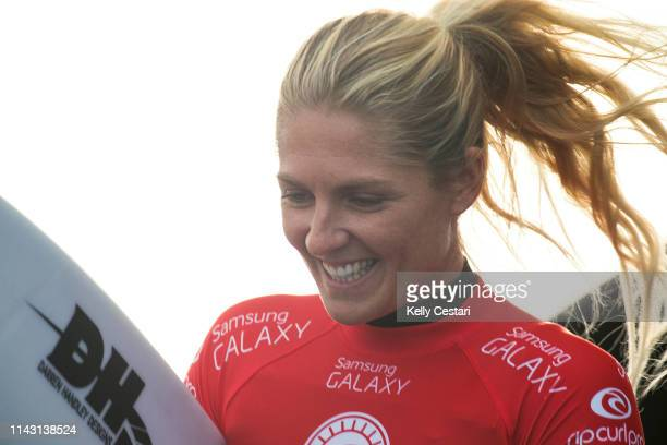 Stephanie Gilmore of Australia competing in and finishing runnerup in the 2015 Rip Curl Women's Pro Bells Beach at Bells Beach Torquay Australia...