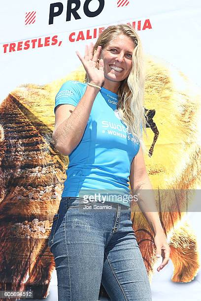 Stephanie Gilmore of Australia enters the stage as the runner up at the 2016 Swatch Women's Pro at Trestles at San Onofre State Beach on September 14...