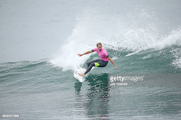 Stephanie Gilmore of Australia in action during her fourth round heat at the 2016 Swatch Women's Pro at Trestles at San Onofre State Beach on...