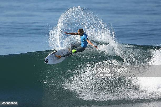 Stephanie Gilmore of Australia in action during her semi final heat at the 2016 Swatch Women's Pro at Trestles at San Onofre State Beach on September...