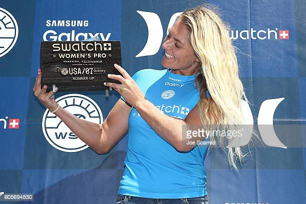 Stephanie Gilmore of Australia poses with her runner up trophy at the 2016 Swatch Women's Pro at Trestles at San Onofre State Beach on September 14...