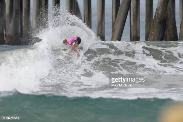 Stephanie Gilmore surfing during the Vans US Open of Surfing on August 01 2017 in Huntington Beach CA