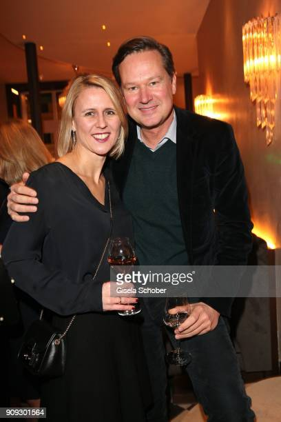 Stephanie Goettmann and Philipp Wolff during the christmas party of magazine 'Bunte' at Tambosi on December 12 2017 in Munich Germany