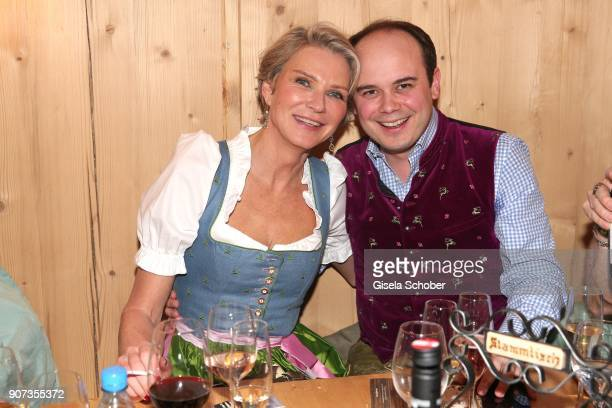 Stephanie Graefin von Pfuel and Benjamin Bartz during the 27th Weisswurstparty at Hotel Stanglwirt on January 19 2018 in Going near Kitzbuehel Austria