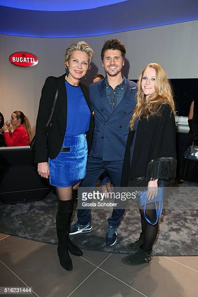 Stephanie Graefin von Pfuel and her daughter Amelie Bagusat and Thore Schoelermann during the Bugatti boutique opening on March 17 2016 in Munich...