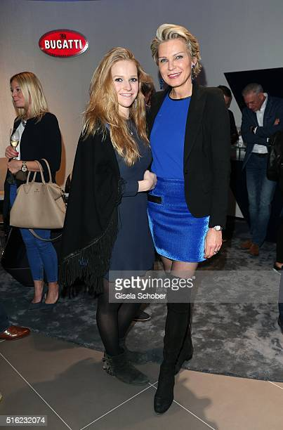Stephanie Graefin von Pfuel and her daughter Amelie Bagusat during the Bugatti boutique opening on March 17 2016 in Munich Germany