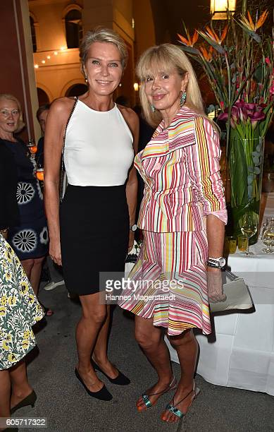 Stephanie Graefin von Pfuel and Holde Heuer during a cocktail reception hosted by the Dorotheum on September 14 2016 in Munich Germany