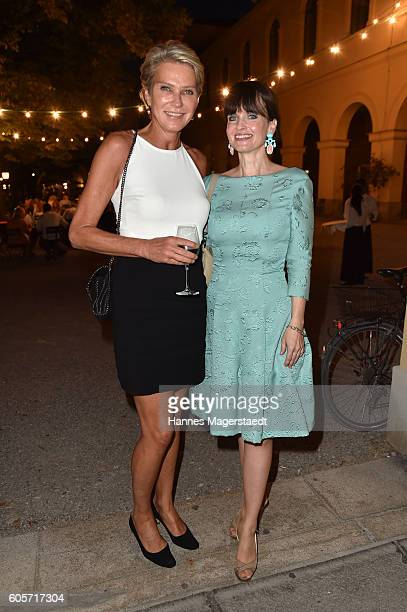 Stephanie Graefin von Pfuel and Sonja Lechner during a cocktail reception hosted by the Dorotheum on September 14 2016 in Munich Germany