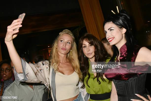 Stephanie Grasset Stefanie Renoma and Elsa Oesinger attend the Stefanie Renoma Exhibition Preview Party at Le Masha Club on September 12 2018 in...