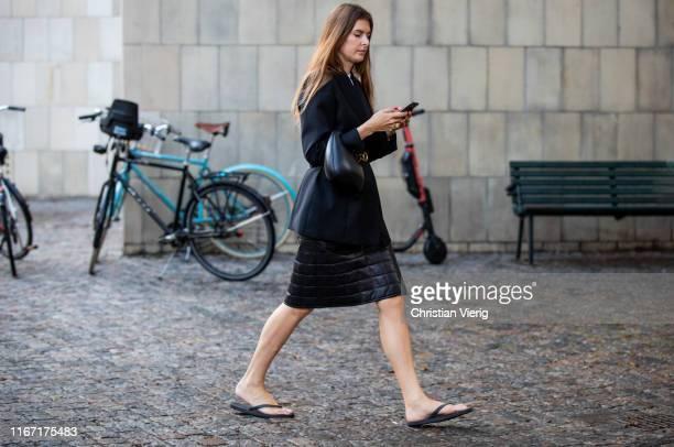 Stephanie Gundelach is seen outside Saks Potts during Copenhagen Fashion Week Spring/Summer 2020 on August 08, 2019 in Copenhagen, Denmark.