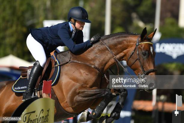 Stephanie Holmèn of Sweden riding Flip's Little Sparrow during Longines FEI Jumping Nations Cup Final Competition on October 7 2018 in Barcelona Spain