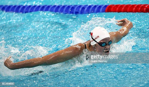 Stephanie Horner of Canada competes in the Women's 200m Butterfly Heat 3 held at the National Aquatics Center on Day 4 of the Beijing 2008 Olympic...