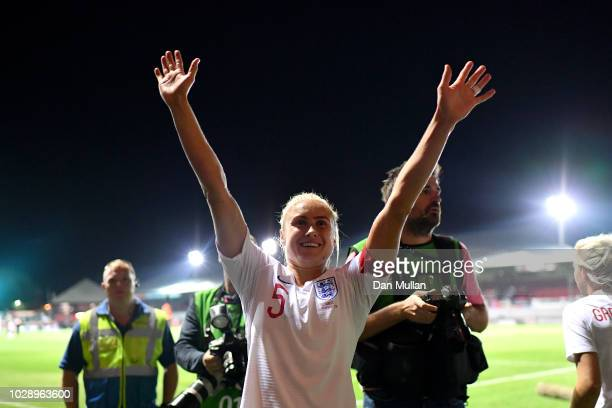 Stephanie Houghton of England celebrates victory at the final whistle during the Women's World Cup qualifier between Wales Women and England Women at...