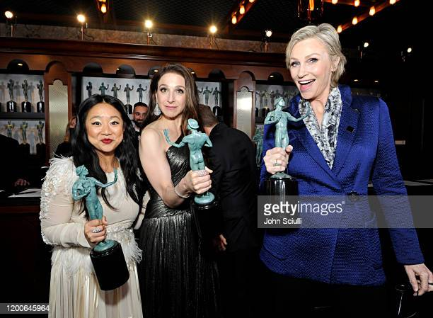 Stephanie Hsu Marin Hinkle and Jane Lynch Winners of Outstanding Performance by an Ensemble in a Comedy Series for 'The Marvelous Mrs Maisel' pose in...