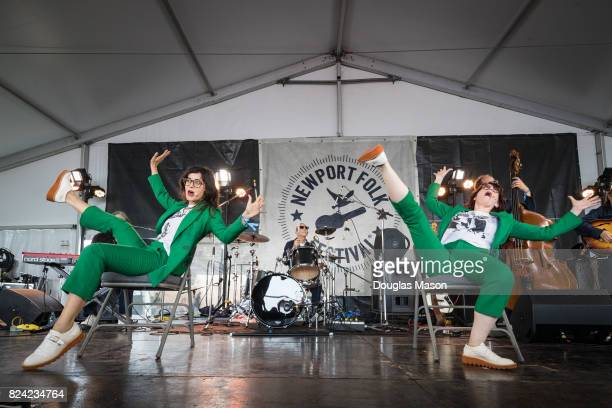 Stephanie Hunt and Megan Mullally of Nancy and Beth perform during the Newport Folk Festival 2017 at Fort Adams State Park on July 28 2017 in Newport...