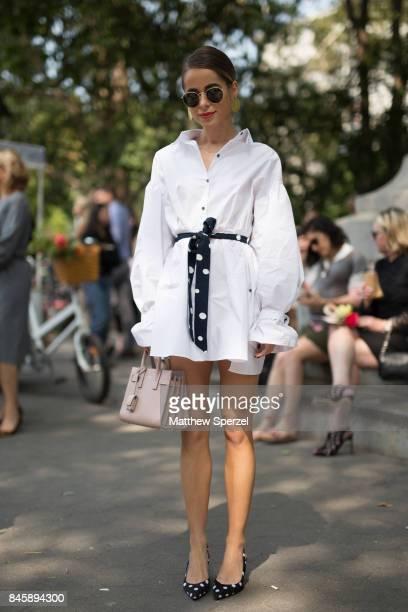 Stephanie is seen attending Lela Rose during New York Fashion Week wearing Zara Saint Laurent on September 11 2017 in New York City