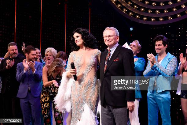Stephanie J Block and Bob Mackie pose onstage with the cast of The Cher Show at The Cher Show Broadway Opening Night at Neil Simon Theatre on...