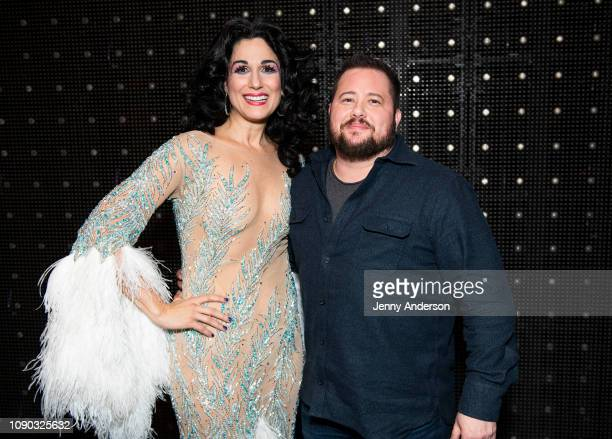 Stephanie J Block and Chaz Bono backstage at The Cher Show on Broadway at the Neil Simon Theatre on January 5 2019 in New York City