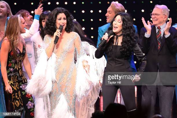 Stephanie J Block and Cher perform at the curtain call of opening night of The Cher Show at Neil Simon Theatre on December 3 2018 in New York City