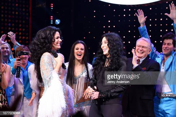 Stephanie J Block and Cher perform onstage with the cast of The Cher Show at The Cher Show Broadway Opening Night at Neil Simon Theatre on December...