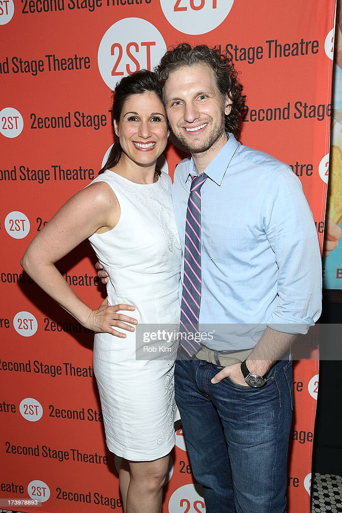 Stephanie J. Block (L) and Sebastian Arcelus attend 'Nobody Loves You' Opening Night After Party at HB Burger on July 18, 2013 in New York City.