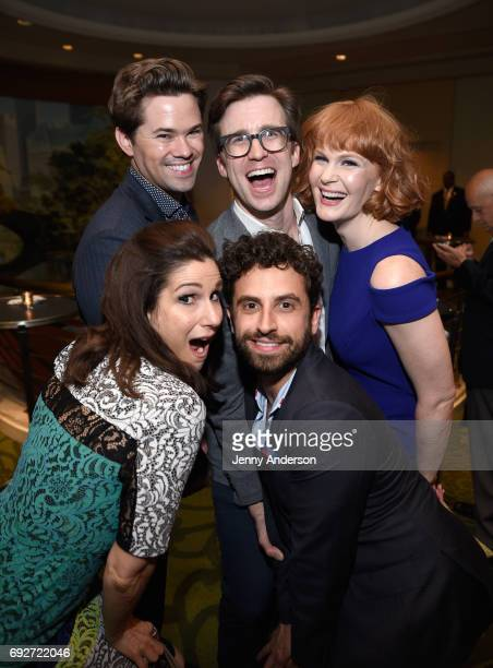 Stephanie J Block Andrew Rannells Gavin Creel Brandon Uranowitz and Kate Baldwin attend the Tony Honors Cocktail Party Presenting The 2017 Tony...