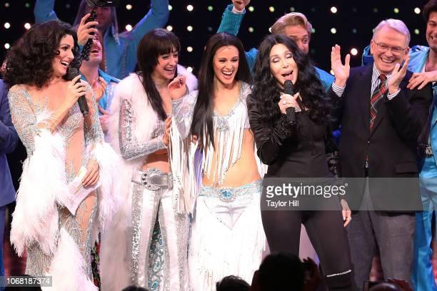 Stephanie J Block Michaela Diamond Teal Wicks Cher and Bob Mackie perform during the curtain call of The Cher Show opening night at Neil Simon...