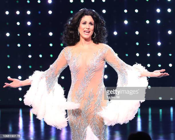 Stephanie J Block takes a bow during the opening night curtain call of The Cher Show at Neil Simon Theatre on December 3 2018 in New York City