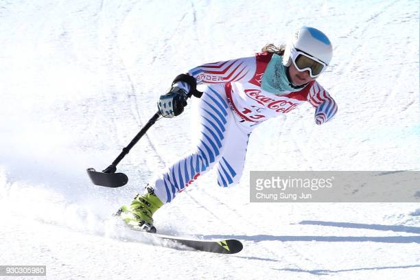 Stephanie Jallen of the United States competes in the Alpine Skiing Women's SuperG Standing during day two of the PyeongChang 2018 Paralympic Games...