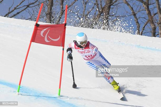 Stephanie Jallen of the United States competes in the Alpine Skiing Women's Super Combined Standingon day four of the PyeongChang 2018 Paralympic...