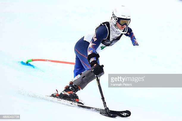 Stephanie Jallen of the United States competes in the Women Slalom Standing LW91 in the IPC Alpine Adaptive Slalom Southern Hemisphere Cup during the...