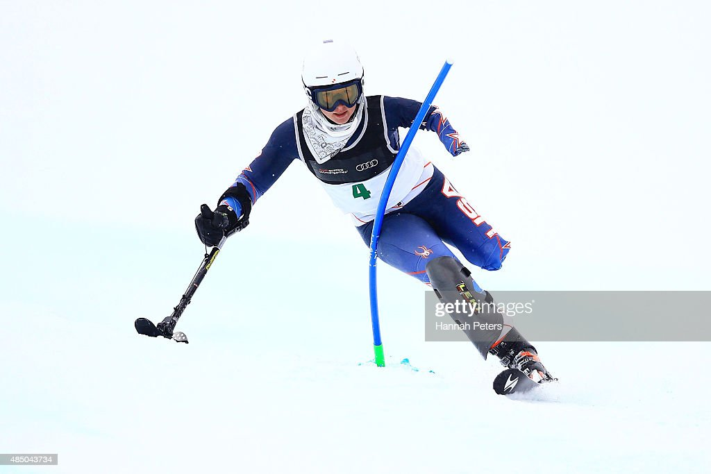 Stephanie Jallen of the United States competes in the Women Slalom Standing LW9-1 in the IPC Alpine Adaptive Slalom Southern Hemisphere Cup during the Winter Games NZ at Coronet Peak on August 24, 2015 in Queenstown, New Zealand.