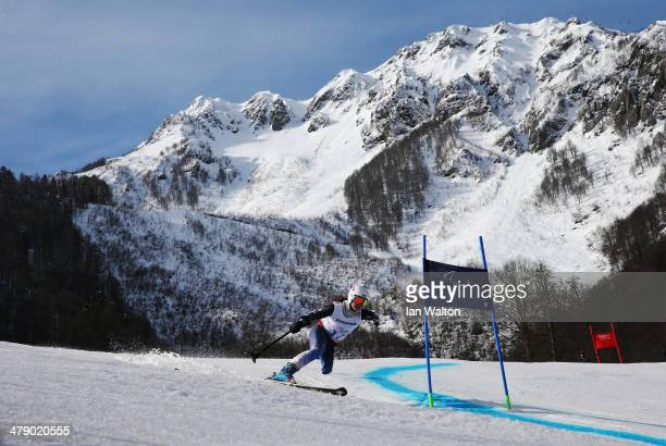 Stephanie Jallen of the United States competes in the Women's Giant Slalom Standing during day nine of the Sochi 2014 Paralympic Winter Games at Rosa...