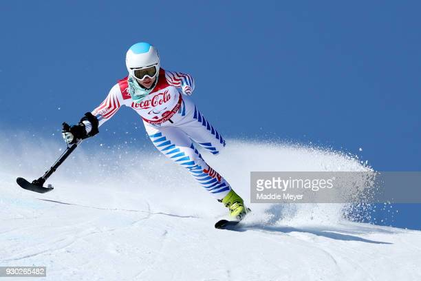 Stephanie Jallen of the United States competes in the Women's Standing SuperG at Jeongseon Alpine Centre on Day 2 of the PyeongChang 2018 Paralympic...