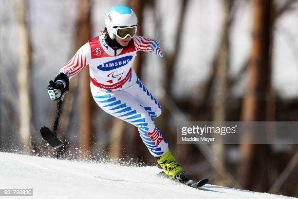 Stephanie Jallen of the United States competes in the Women's Standing Giant Slalom at Jeongseon Alpine Centre on Day 5 of the PyeongChang 2018...