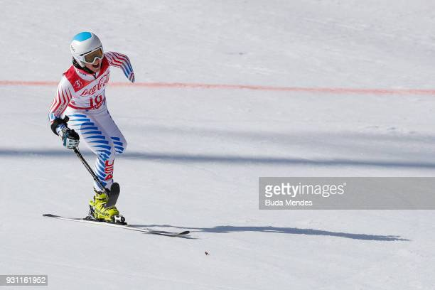 Stephanie Jallen of the United States competes in the Women's Super Combined Standing Alpine Skiing event at Jeongseon Alpine Centre during day four...