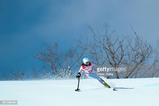 Stephanie Jallen of the United States competing in the Women's Super Combined, Standing Alpine Skiing event at the Jeongseon Alpine Centre during day...