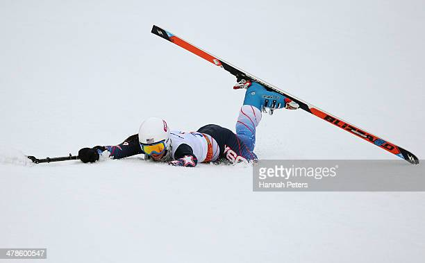 Stephanie Jallen of the United States crashes during the Women's Super Combined Standing Super G on day seven of the Sochi 2014 Paralympic Winter...