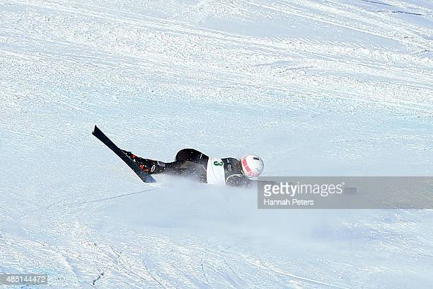 Stephanie Jallen of the United States crashes in the Women Giant Slalom Standing LW91 in the IPC Alpine Adaptive Giant Slalom Southern Hemisphere Cup...