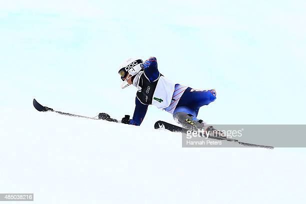 Stephanie Jallen of the United States crashes in the Women Slalom Standing LW91 in the IPC Alpine Adaptive Slalom Southern Hemisphere Cup during the...