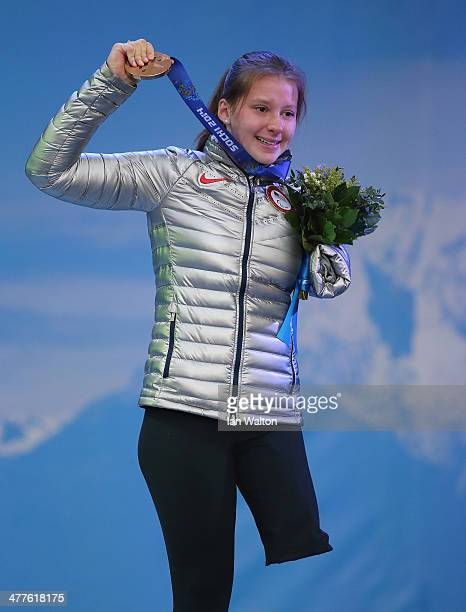 Stephanie Jallen of USA celebrates celebrates winning Bronze in the Women's SuperG Standing on March 10 2014 in Sochi Russia