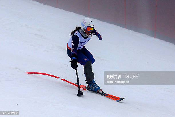 Stephanie Jallen of USA competes in the Women's SC Slalom Run 1 Standing during day four of Sochi 2014 Paralympic Winter Games at Rosa Khutor Alpine...