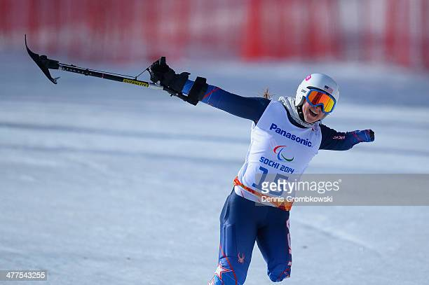 Stephanie Jallen of USA reacts after competing in the Women's SuperG Standing during day three of Sochi 2014 Paralympic Winter Games at Rosa Khutor...