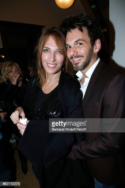 Stephanie Jarre and tenor Laurent Arcaro attend the One Woman Show by Christelle Chollet for the Inauguration of the Theatre de la Tour Eiffel Held...