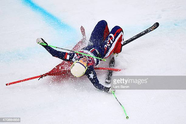 Stephanie Joffroy of Chile crashes in the Freestyle Skiing Womens' Ski Cross Seeding on day 14 of the 2014 Winter Olympics at Rosa Khutor Extreme...