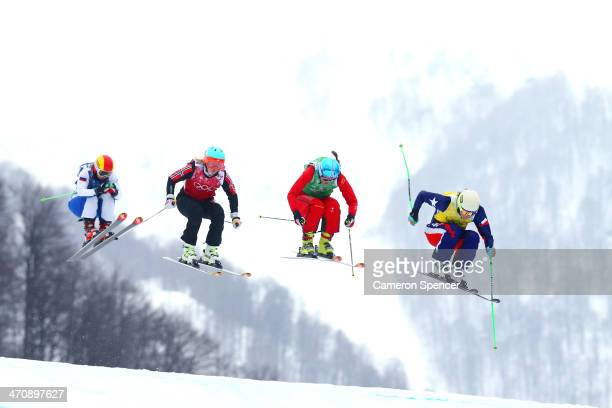 Stephanie Joffroy of Chile leads from Katrin Mueller of Switzerland Marte Hoeie Gjefsen of Norway and Anastasiia Chirtcova of Russia in the Freestyle...