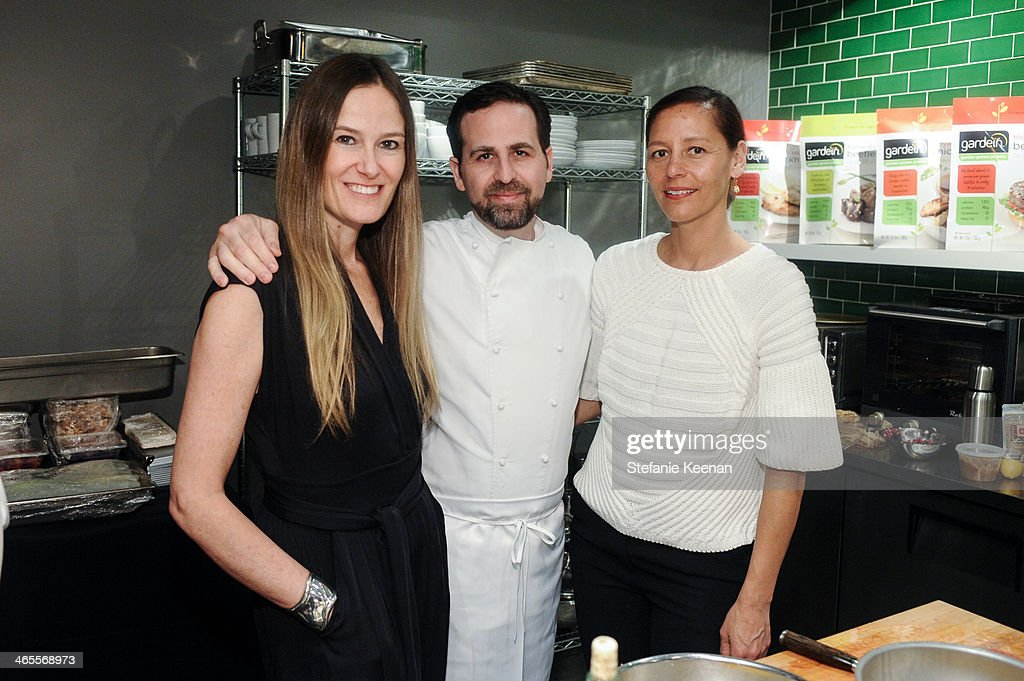Stephanie Johnson, Tal Ronnen and Marlien Rentmeester attends Chef Tal Ronnen Presents a Gardein Dinner hosted by Yves Potvin, Stephanie Johnson and SetSipServe at Gardein Tasting Kitchen on January 27, 2014 in Marina del Rey, California.