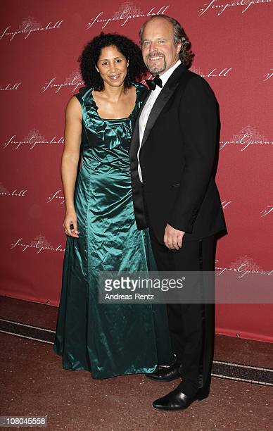 Stephanie Jones and Peter Olsson arrive at the Semper Opera ball on January 14 2011 in Dresden Germany