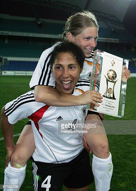 Stephanie Jones of Germany celebrates after winning the Womens Algarve Cup match between Germany and USA on March 15, 2006 in Faro, Portugal.