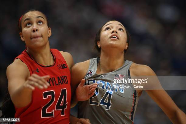 Stephanie Jones of the Maryland Terrapins and Napheesa Collier of the Connecticut Huskies jostle for position at a free throw during the the UConn...